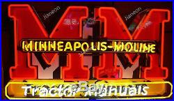 24X24 Old Style MINNEAPOLIS MOLINE TRACTOR MANUALS FRAM REAL NEON SIGN LIGHT