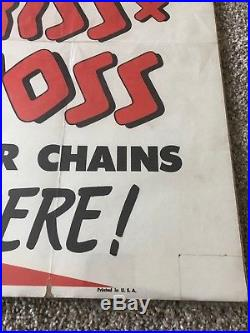 ANTIQUE VERY RARE STORE POSTER MINNEAPOLIS MOLINE PAPER SIGN Tractor Chains