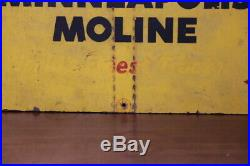 HTF Wood Minneapolis Moline MM Worl'ds Finest Tractors advertising sign 1940's