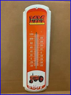 Vintage Minneapolis Moline Modern Machinery Tractor Thermometer Metal Sign Farm